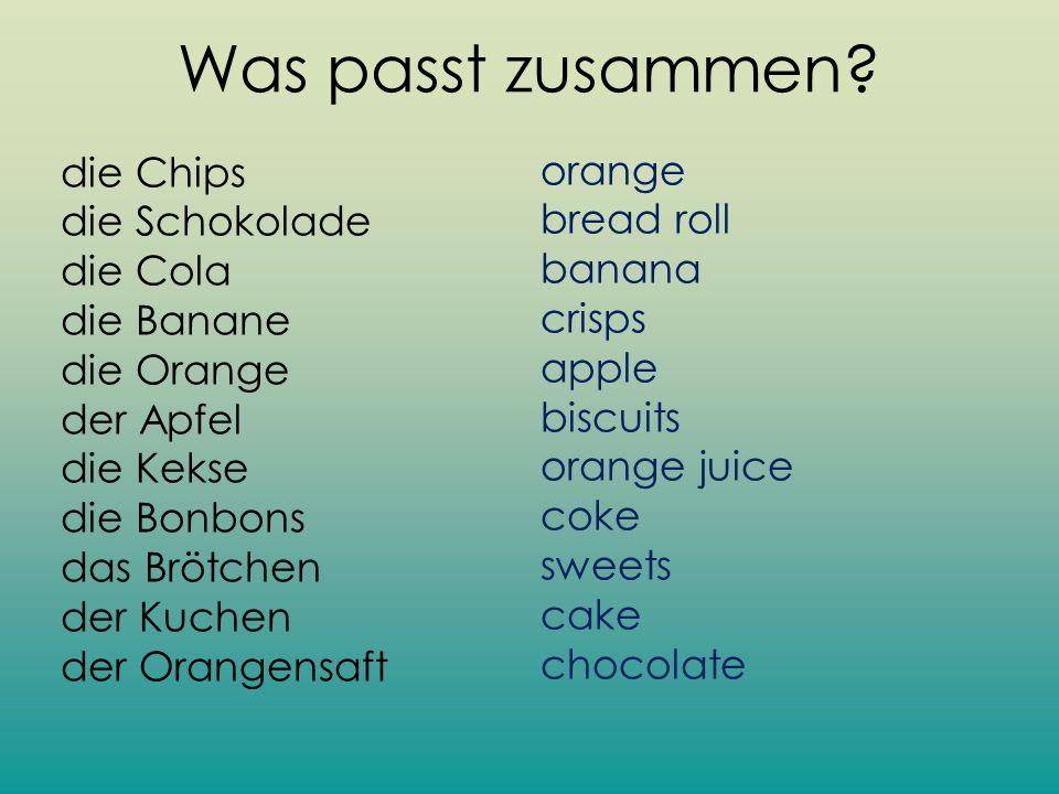 Was passt zusammen die Chips die Schokolade die Cola die Banane die Orange der Apfel die Kekse die Bonbons das Brötchen der Kuchen der Orangensaft