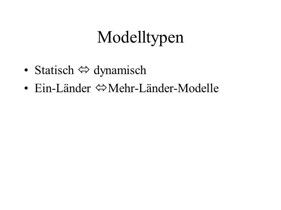 Modelltypen Statisch  dynamisch Ein-Länder Mehr-Länder-Modelle