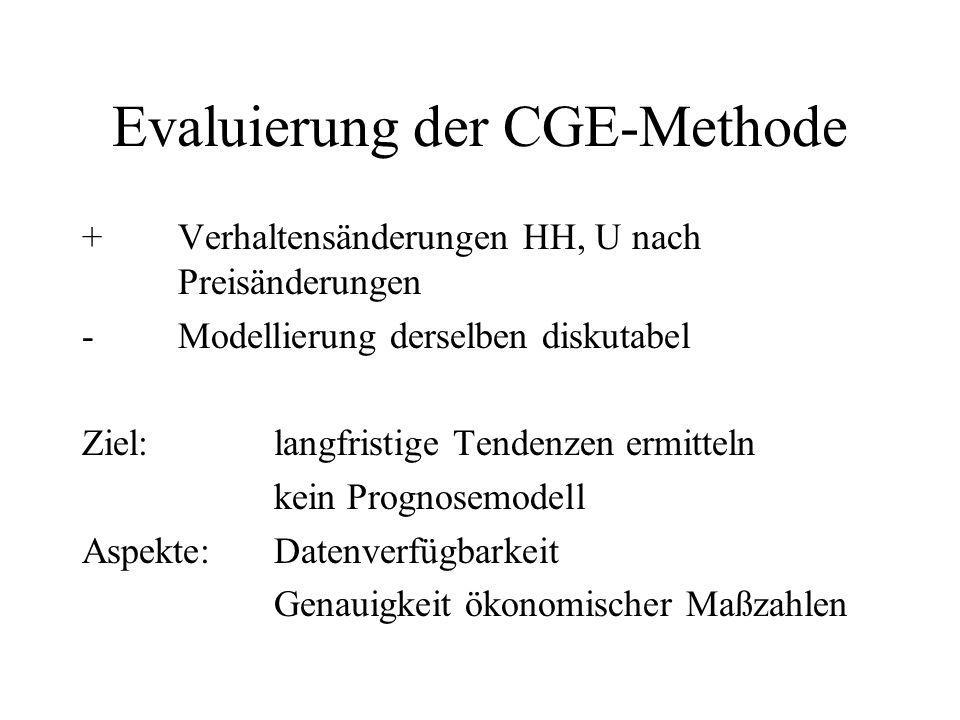 Evaluierung der CGE-Methode
