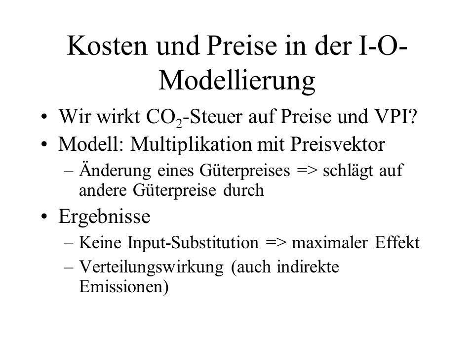 Kosten und Preise in der I-O-Modellierung