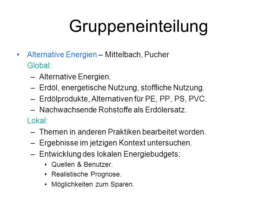 Gruppeneinteilung Alternative Energien – Mittelbach, Pucher Global: