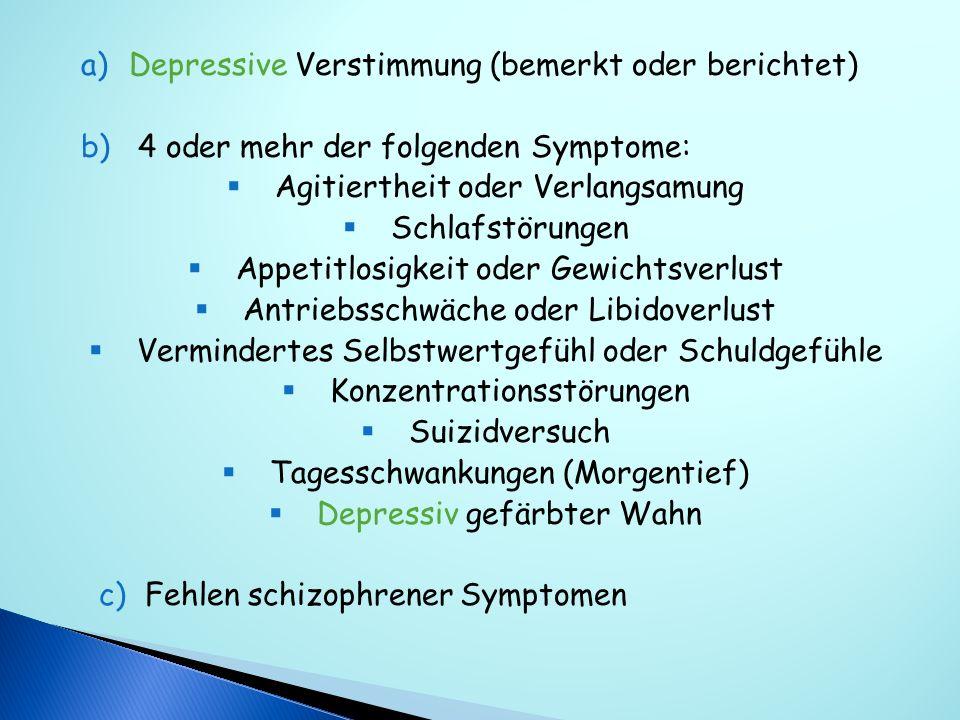 Depressive Verstimmung (bemerkt oder berichtet)