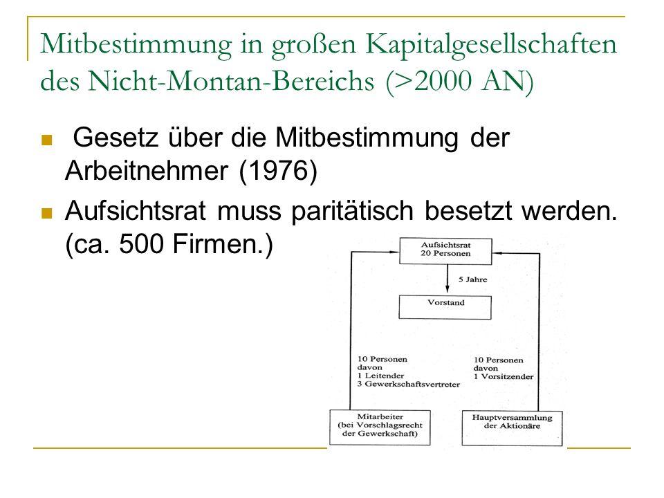 Mitbestimmung in großen Kapitalgesellschaften des Nicht-Montan-Bereichs (>2000 AN)