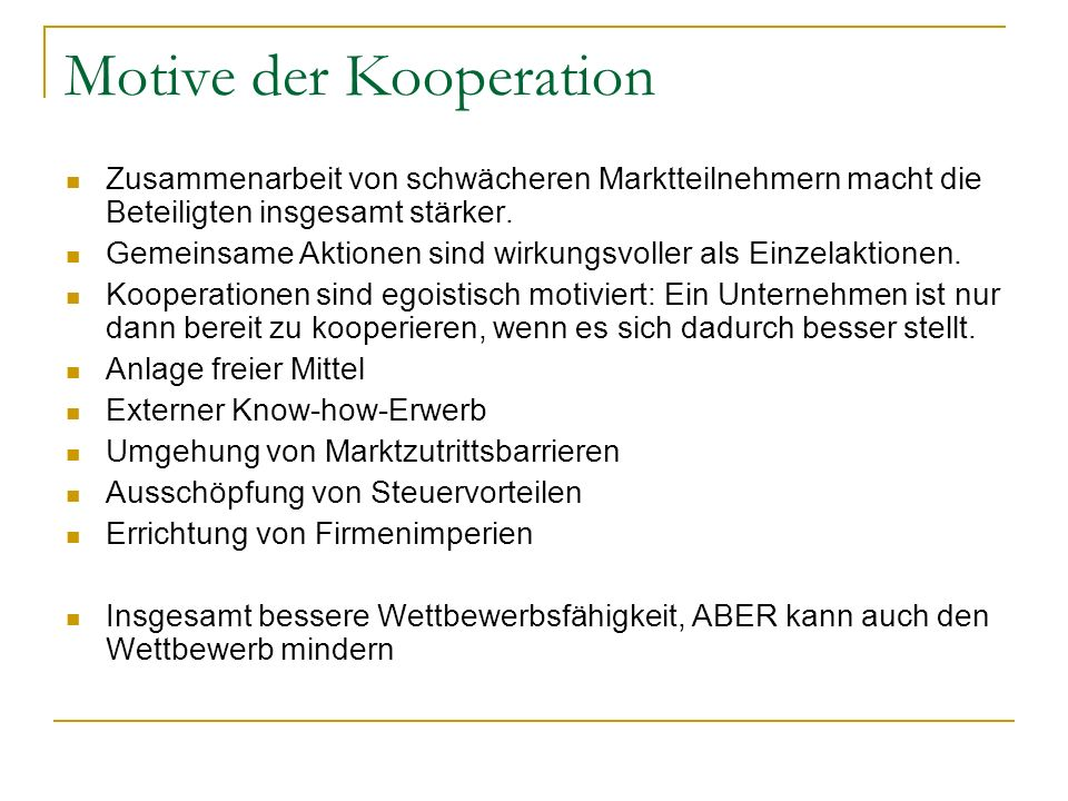 Motive der Kooperation