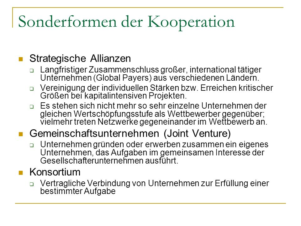 Sonderformen der Kooperation