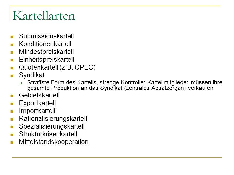 Kartellarten Submissionskartell Konditionenkartell Mindestpreiskartell