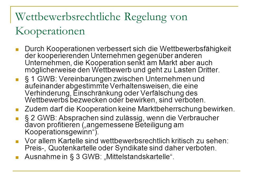 Wettbewerbsrechtliche Regelung von Kooperationen
