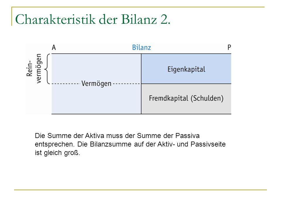 Charakteristik der Bilanz 2.