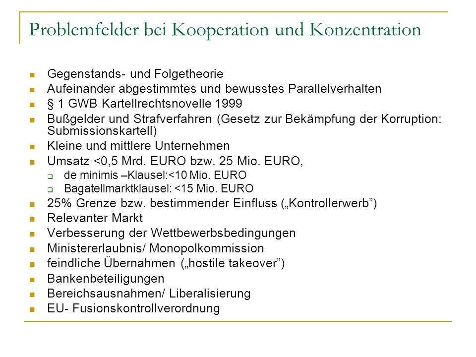 Problemfelder bei Kooperation und Konzentration