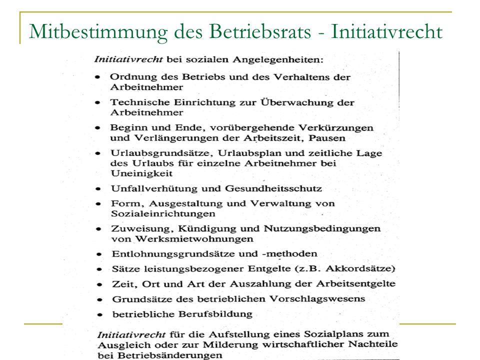 Mitbestimmung des Betriebsrats - Initiativrecht