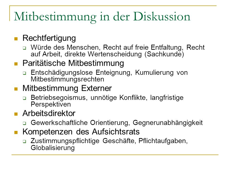 Mitbestimmung in der Diskussion