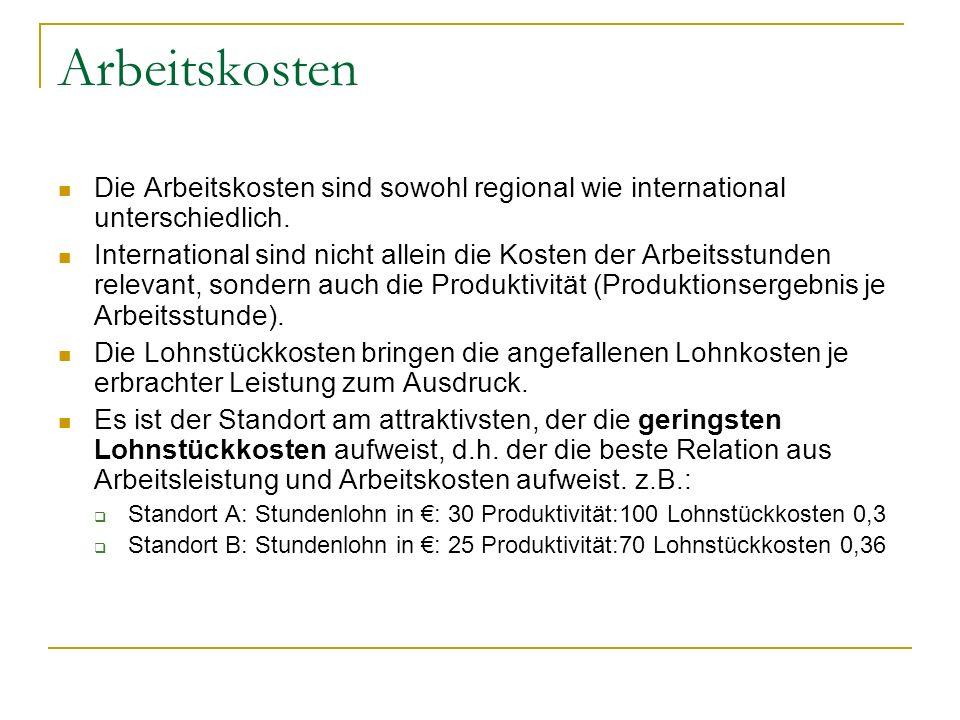 Arbeitskosten Die Arbeitskosten sind sowohl regional wie international unterschiedlich.