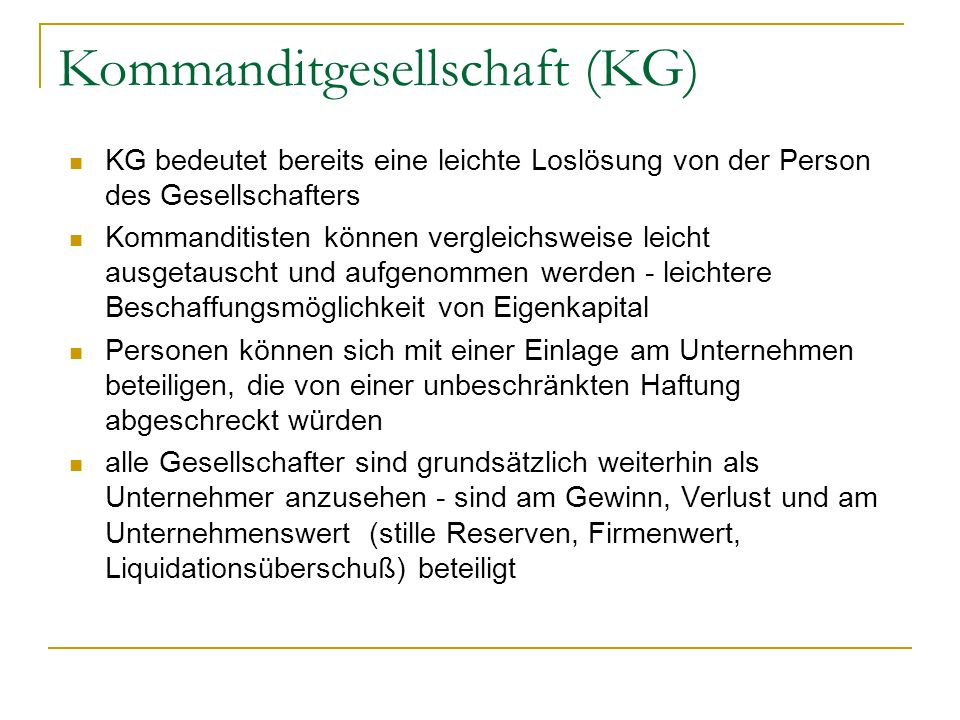 Kommanditgesellschaft (KG)