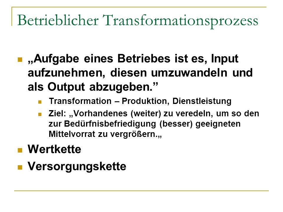 Betrieblicher Transformationsprozess
