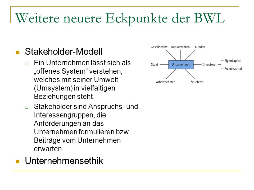 Weitere neuere Eckpunkte der BWL
