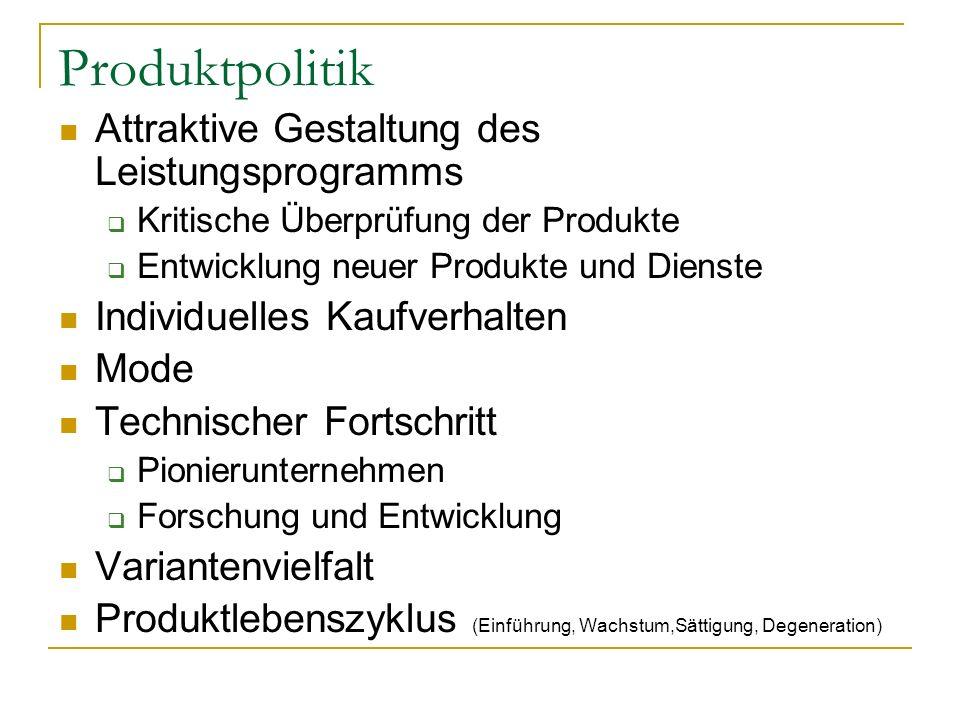 Produktpolitik Attraktive Gestaltung des Leistungsprogramms
