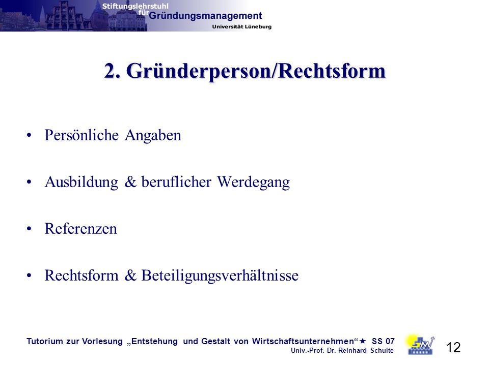 2. Gründerperson/Rechtsform