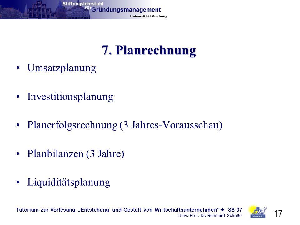 7. Planrechnung Umsatzplanung Investitionsplanung