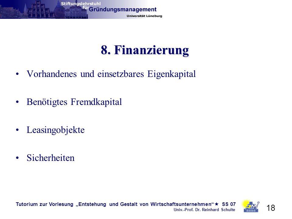 8. Finanzierung Vorhandenes und einsetzbares Eigenkapital