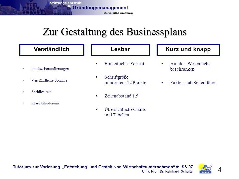 Zur Gestaltung des Businessplans