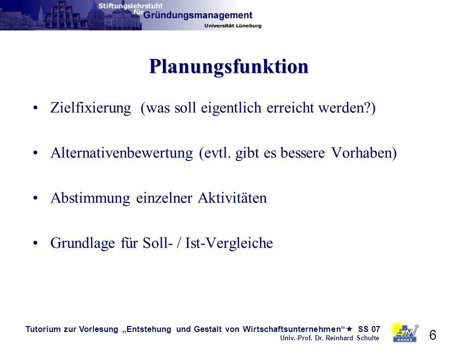 Planungsfunktion Zielfixierung (was soll eigentlich erreicht werden )