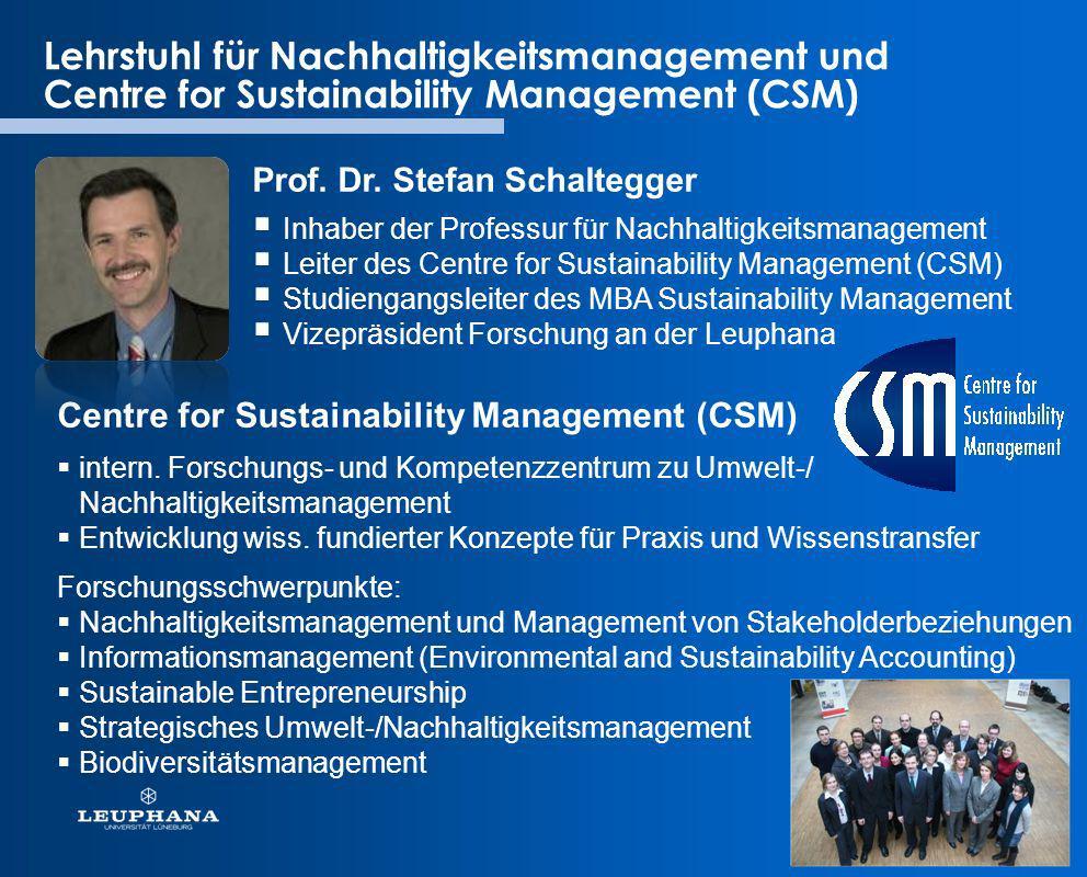 Lehrstuhl für Nachhaltigkeitsmanagement und Centre for Sustainability Management (CSM)