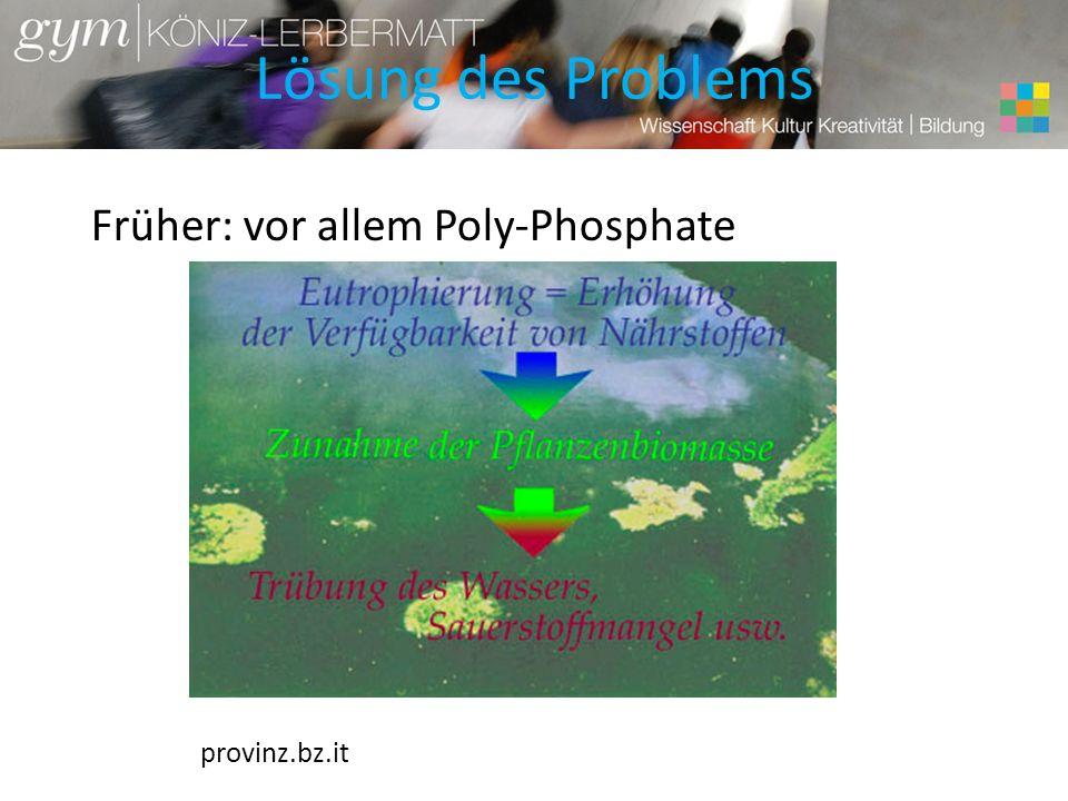 Lösung des Problems Früher: vor allem Poly-Phosphate provinz.bz.it
