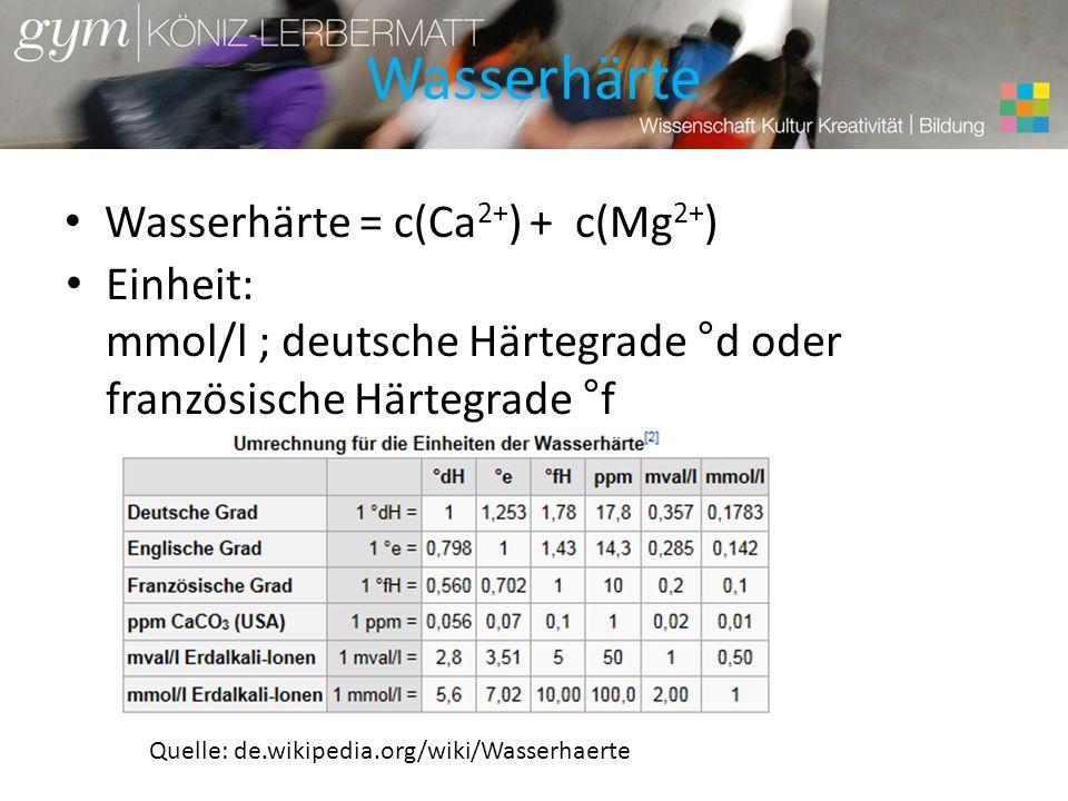 Wasserhärte Wasserhärte = c(Ca2+) + c(Mg2+)