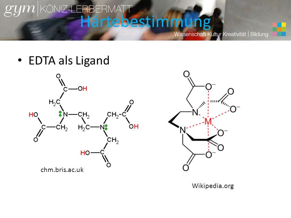 Härtebestimmung EDTA als Ligand chm.bris.ac.uk Wikipedia.org