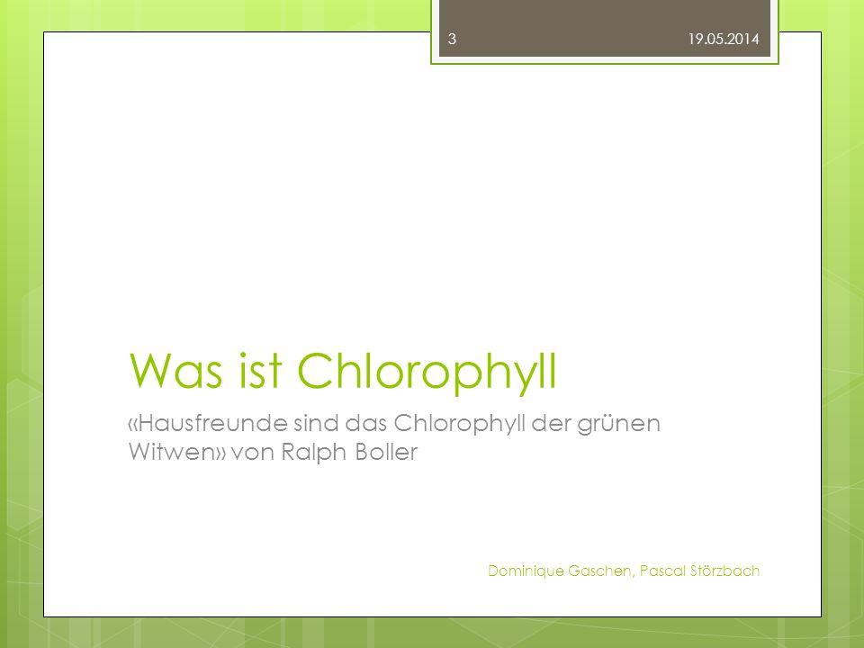31.03.2017 Was ist Chlorophyll. «Hausfreunde sind das Chlorophyll der grünen Witwen» von Ralph Boller.