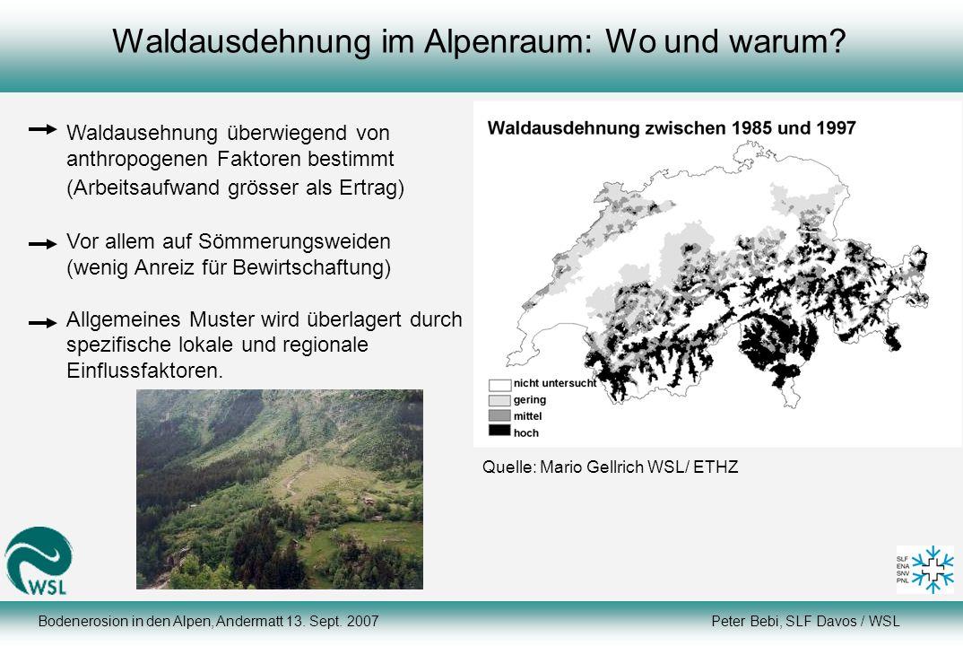 Waldausdehnung im Alpenraum: Wo und warum
