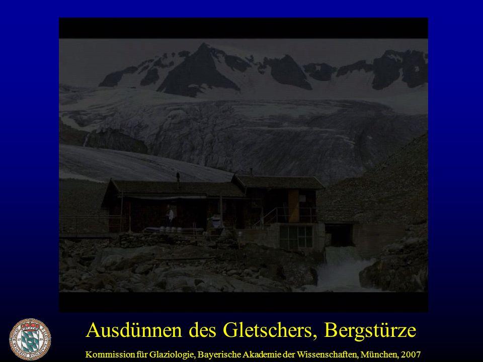 Ausdünnen des Gletschers, Bergstürze