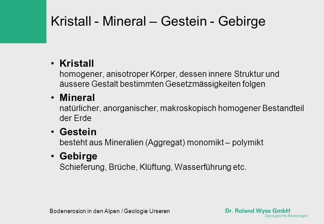 Kristall - Mineral – Gestein - Gebirge