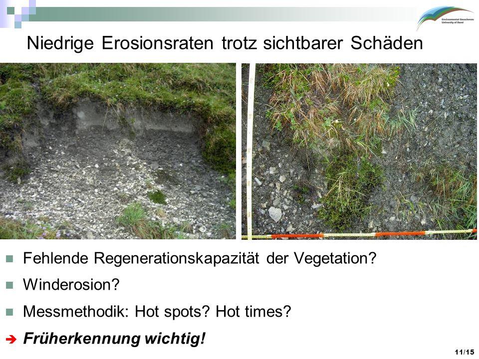 Niedrige Erosionsraten trotz sichtbarer Schäden