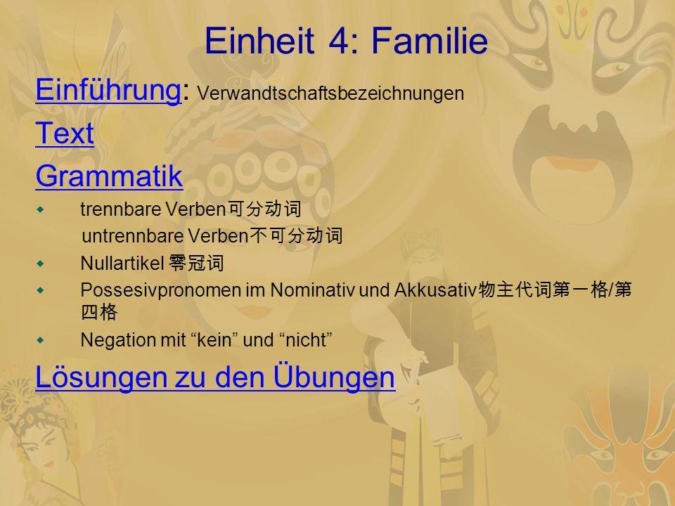 Einheit 4: Familie Einführung: Verwandtschaftsbezeichnungen Text