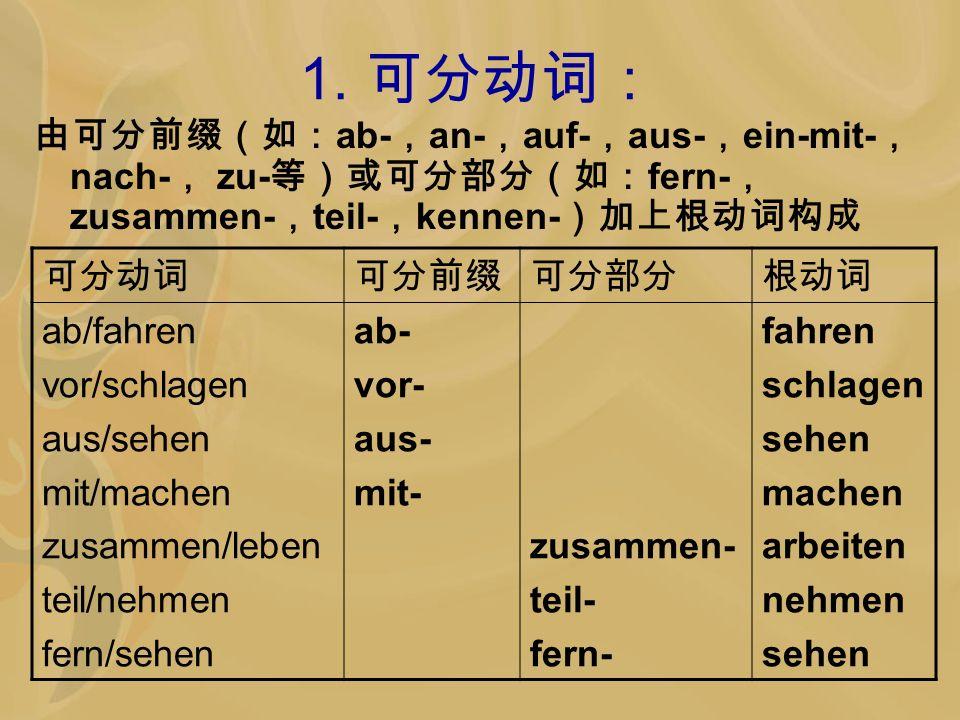 1. 可分动词: 由可分前缀(如:ab-,an-,auf-,aus-,ein-mit-,nach-, zu-等)或可分部分(如:fern-, zusammen-,teil-,kennen-)加上根动词构成.