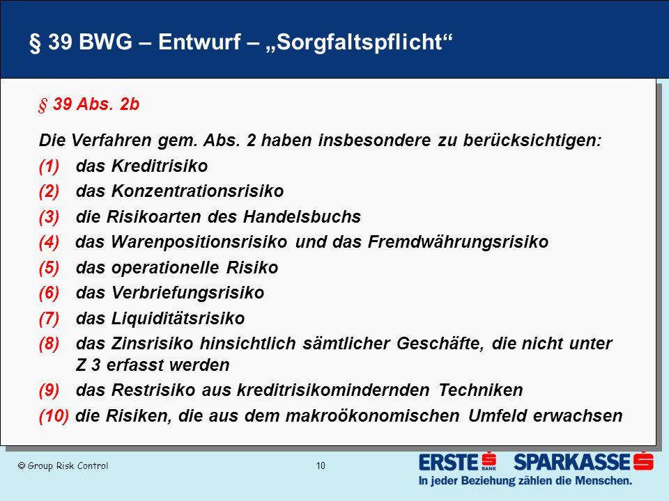 """§ 39 BWG – Entwurf – """"Sorgfaltspflicht"""