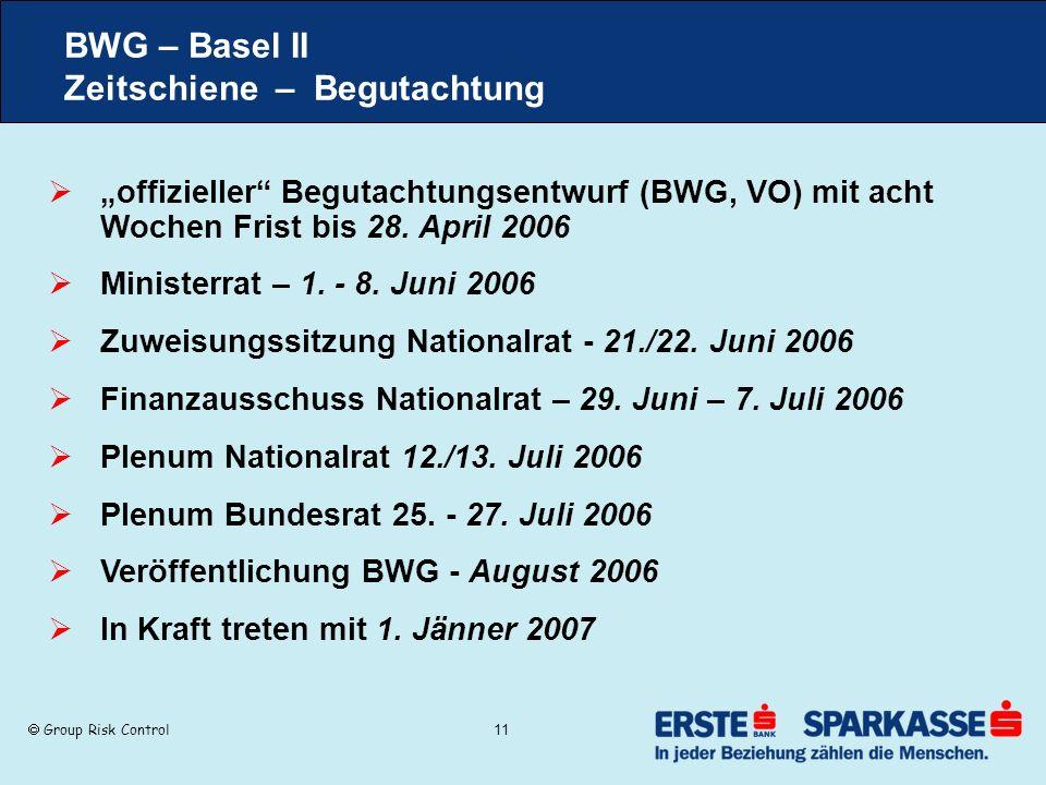 BWG – Basel II Zeitschiene – Begutachtung