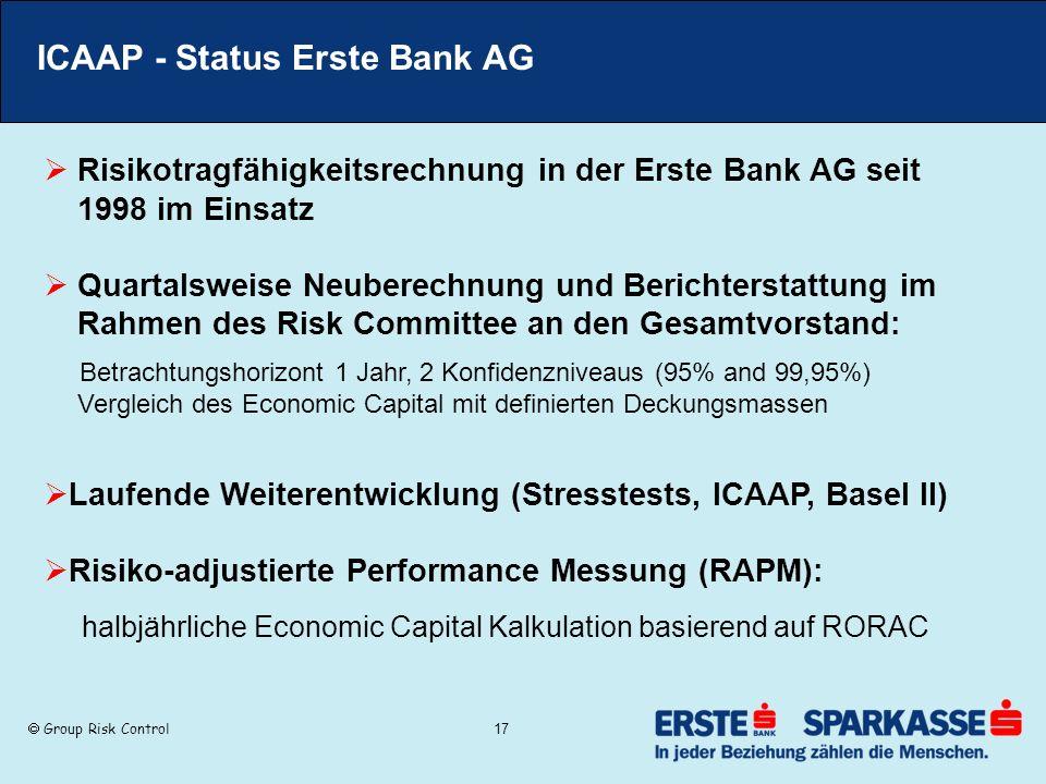 ICAAP - Status Erste Bank AG