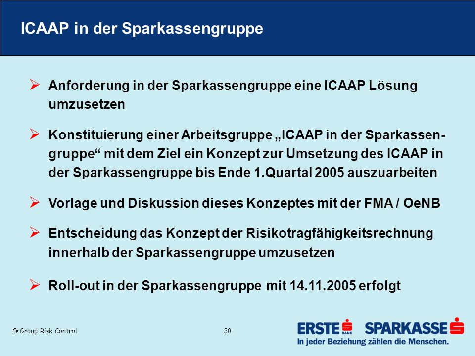 ICAAP in der Sparkassengruppe