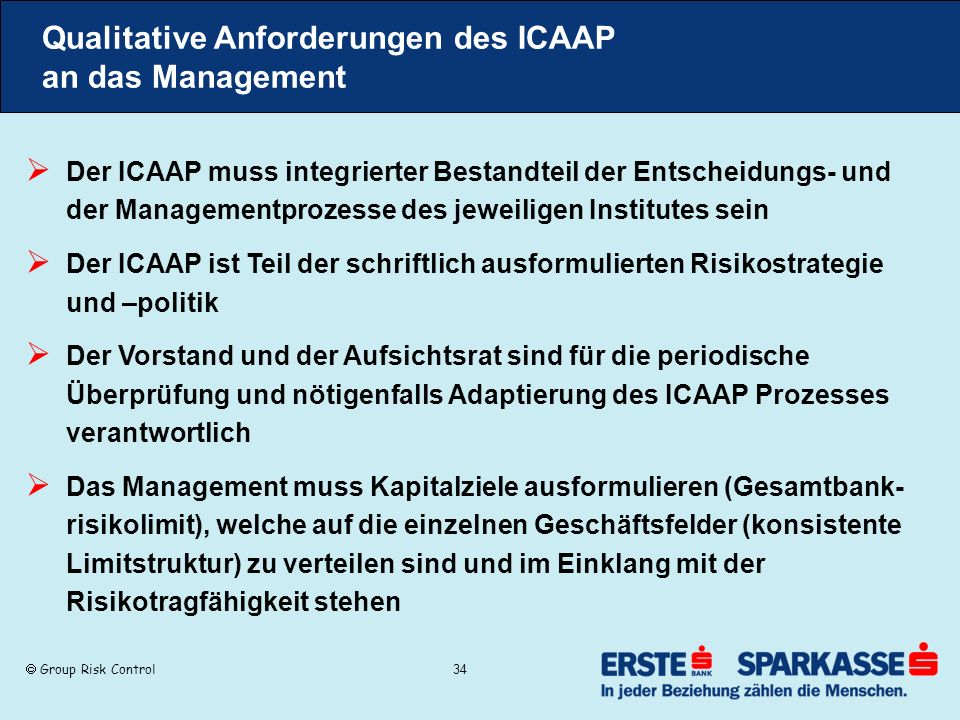 Qualitative Anforderungen des ICAAP an das Management