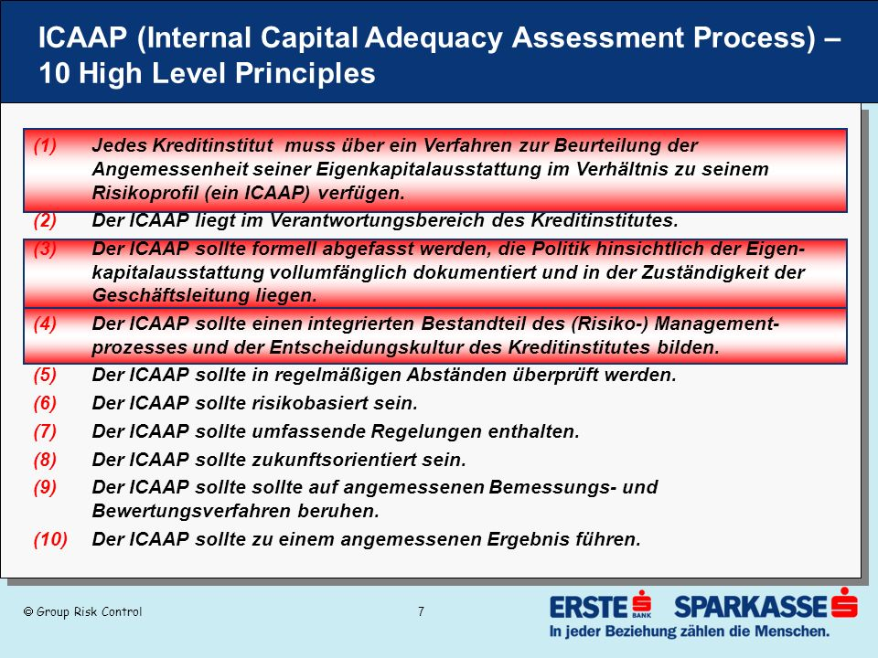 ICAAP (Internal Capital Adequacy Assessment Process) – 10 High Level Principles