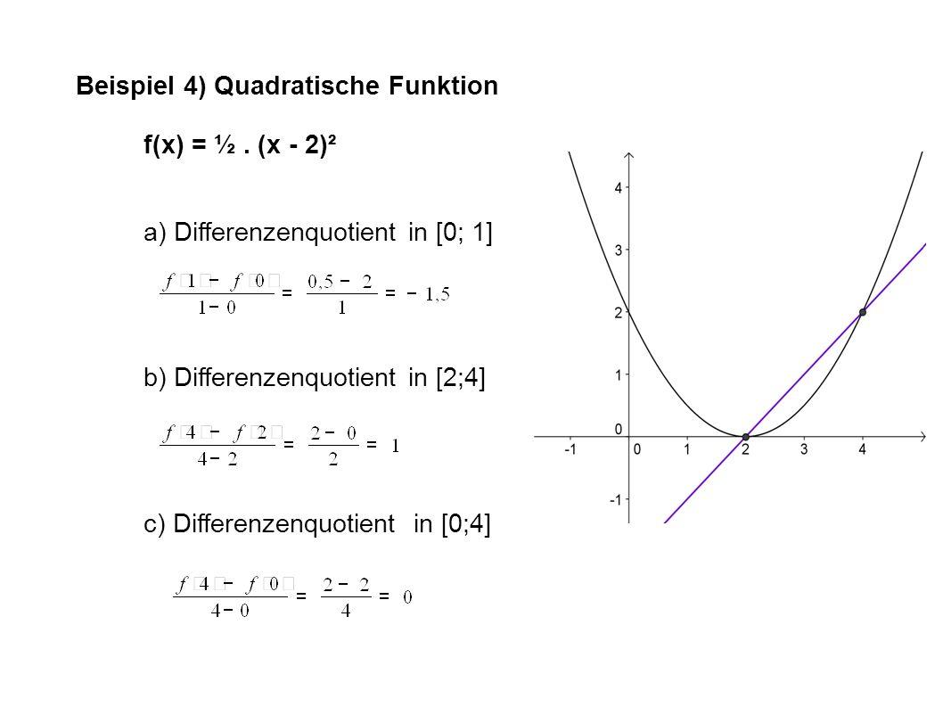 Beispiel 4) Quadratische Funktion