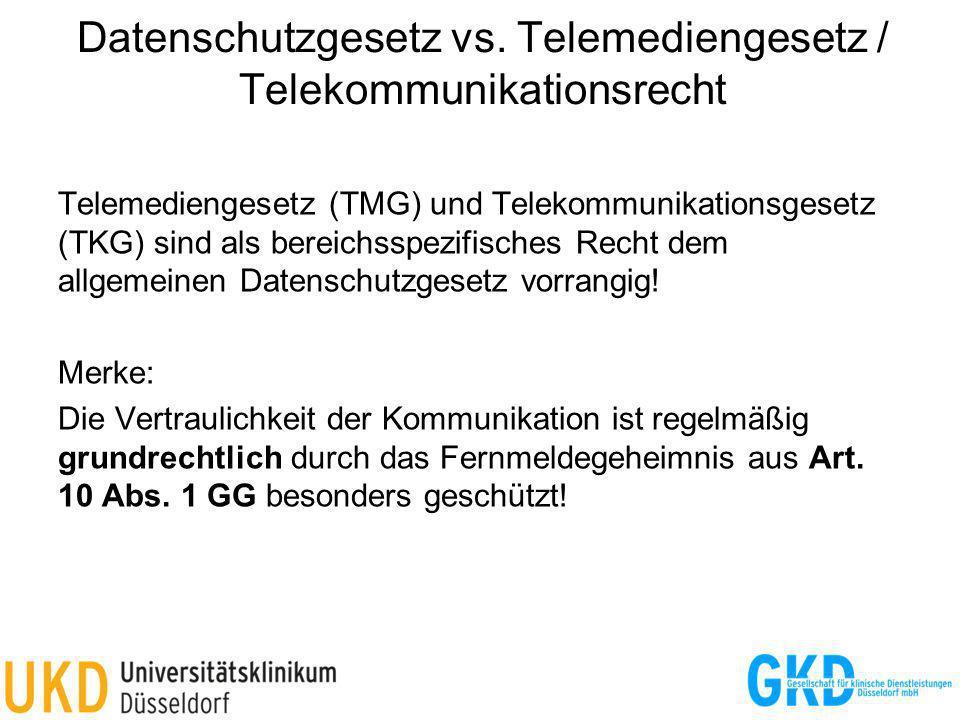 Datenschutzgesetz vs. Telemediengesetz / Telekommunikationsrecht