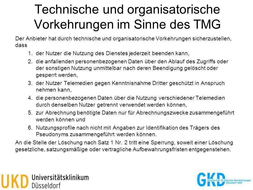 Technische und organisatorische Vorkehrungen im Sinne des TMG