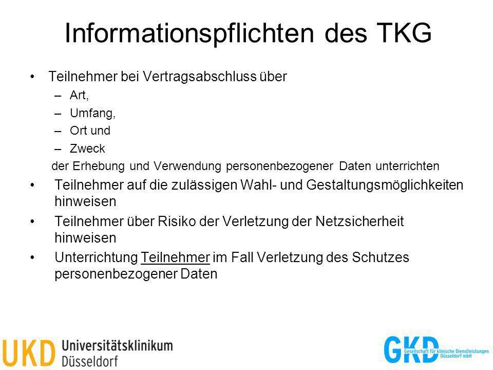 Informationspflichten des TKG