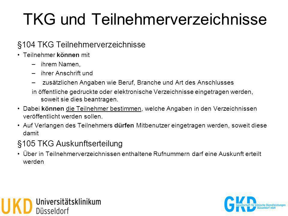 TKG und Teilnehmerverzeichnisse