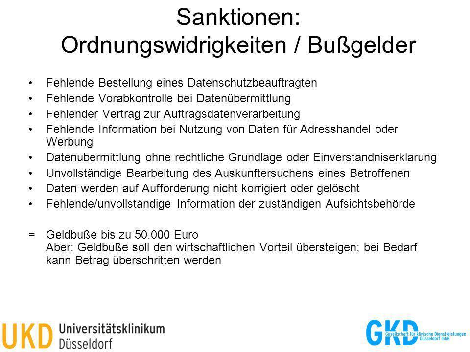 Sanktionen: Ordnungswidrigkeiten / Bußgelder