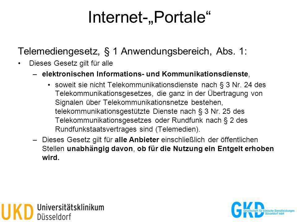 """Internet-""""Portale Telemediengesetz, § 1 Anwendungsbereich, Abs. 1:"""