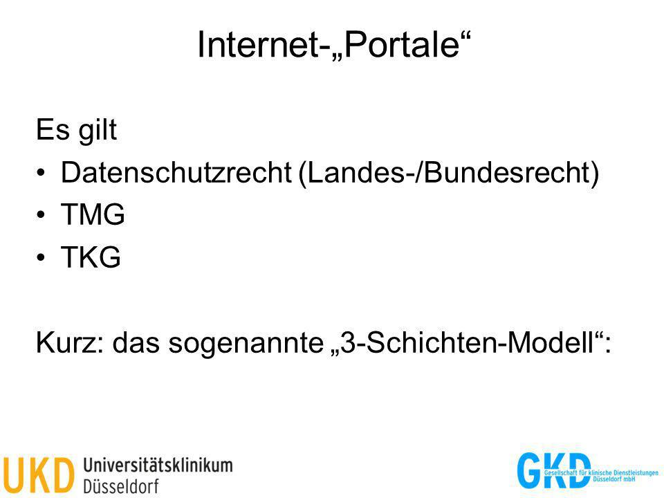 "Internet-""Portale Es gilt Datenschutzrecht (Landes-/Bundesrecht) TMG"